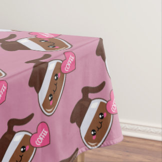 Coffee Pot Love (pink background) Tablecloth