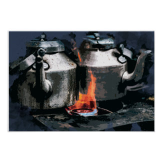 Coffee Pots Brewing on the Old Camp Stove Poster