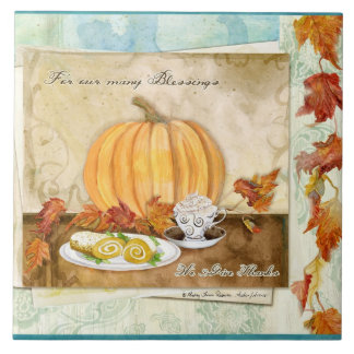 Coffee Pumpkin Autumn Fall Harvest Kitchen Decor Tiles