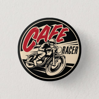 COFFEE RACER Chequered Flag Pine Short prop Swipes 1 Inch Round Button