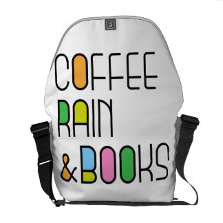 Coffee Rain and Books Mens & Ladies Fit Slogan Courier Bag
