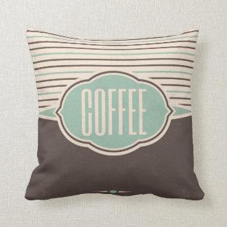 Coffee Retro Label Designer Accent Pillows