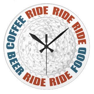 Coffee, Ride, Food, Ride, Beer Large Clock