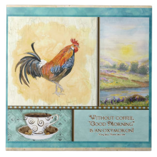 Coffee & Rooster Funny Sayings Kitchen Art Decor Tiles