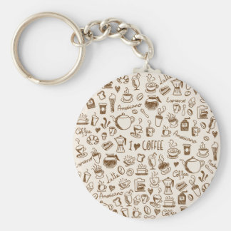 Coffee Scribble Basic Round Button Keychain