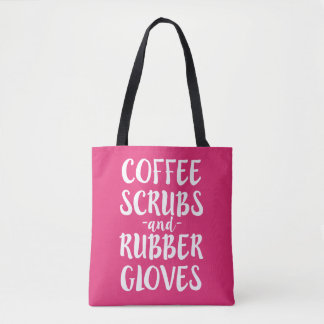 Coffee Scrubs and Rubber Gloves Nurse Bag Womens