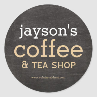 Coffee Shop Black Wood Label Sticker