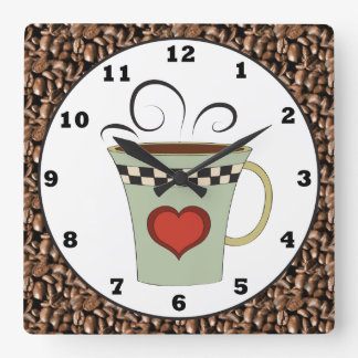 Coffee shop cartoon wall clock