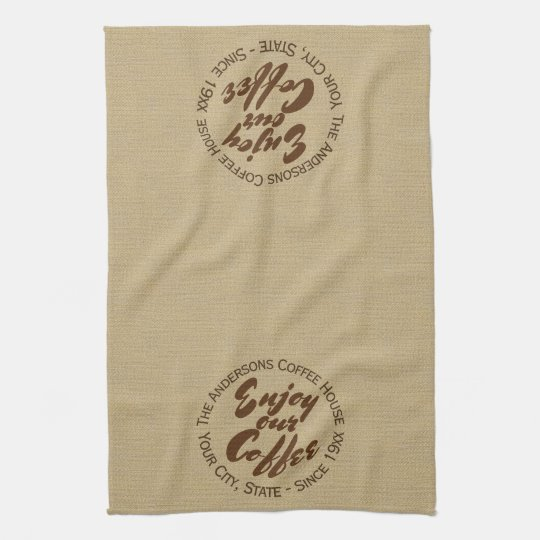 "Coffee Shop Logo ""Enjoy Our Cofffee"" Hand Towel"