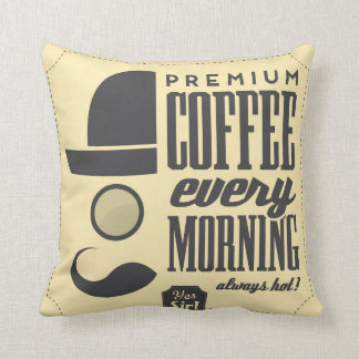 Coffee Shop Retro Label Designer Accent Pillows