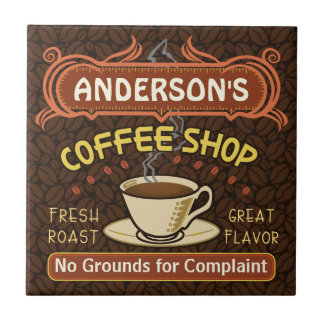 Coffee Shop with Mug Create Your Own Personalized Tile