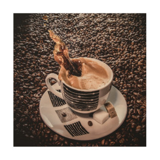 Coffee splash wood wall art wood canvas