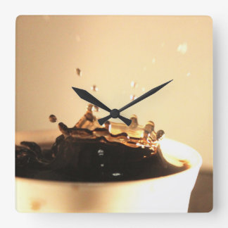 Coffee Splashes Square Wall Clock