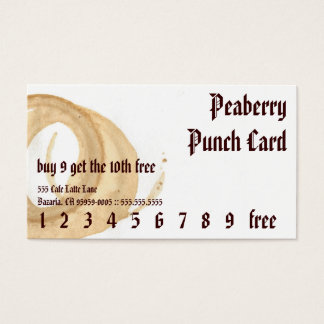 Coffee Stain American Punchcard Business Card