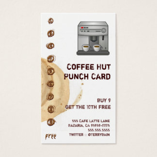 Coffee Stain and Espresso Machine Punchcard Business Card