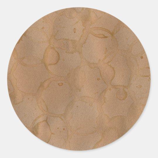 coffee stains background classic round sticker
