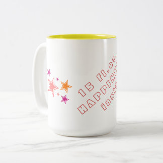 Coffee/Tea lovers: 15 fl.oz. HAPPINESS inside! Two-Tone Coffee Mug