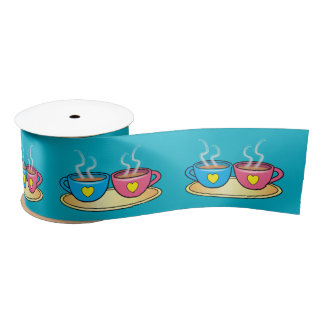 Coffee, Tea or Cocoa with Hearts 3 Inches Satin Ribbon