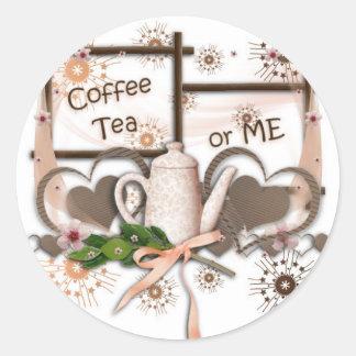 Coffee Tea or Me Round Sticker