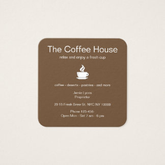 Coffee Theme Square Business Card