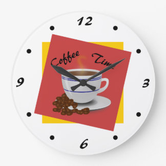 Coffee Time Cool Coffee Art Large Clock