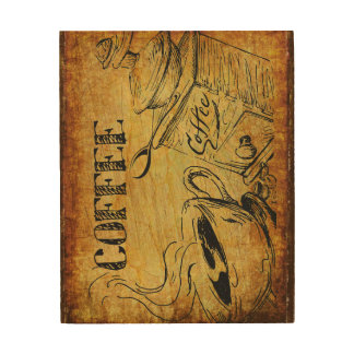 Coffee time wood wallart wood print
