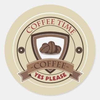 Coffee Time Yes Please Logo Round Sticker
