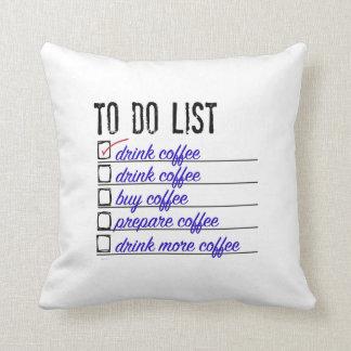 "Coffee To-do-list Polyester Throw Pillow 16"" x 16"""