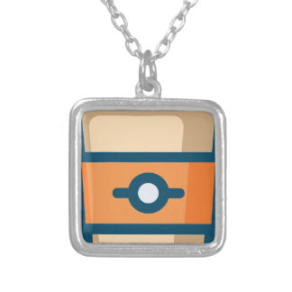 Coffee to go silver plated necklace