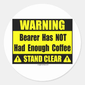 coffee warning sign round sticker