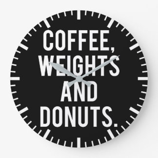 Coffee, Weights and Donuts - Funny Novelty Gym Large Clock