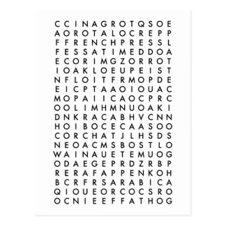 coffee word search puzzle postcard