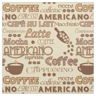 Coffee Words Fabric