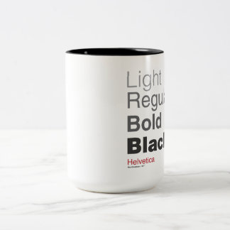 coffeeprogressionhelvetica Two-Tone coffee mug