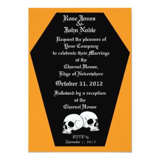 Coffin Ebony (Orange) Wedding Invitation