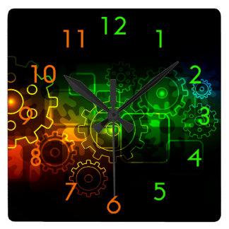 Cogwheels mechanics on black, neon green orange square wall clock