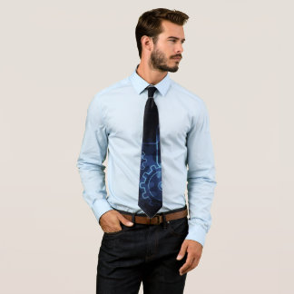Cogwheels mechanics on blue and black tie