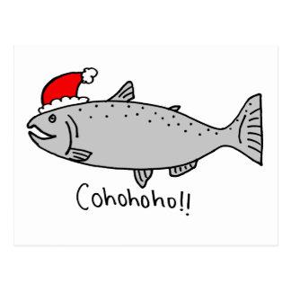 Cohohoho Christmas Salmon Doodle Postcard