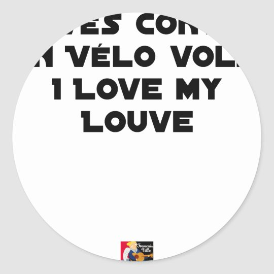 Coiled against a Stolen Bicycle, I Coils my Louve Classic Round Sticker