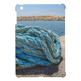 Coiled blue mooring rope at water in greek cave iPad mini cover