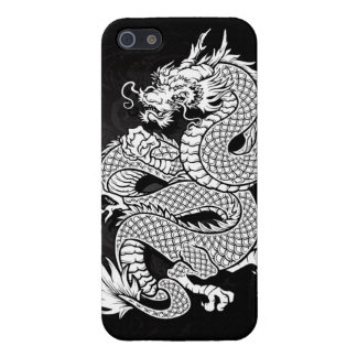 Coiled Chinese Dragon Black and White iPhone 5/5S Cases