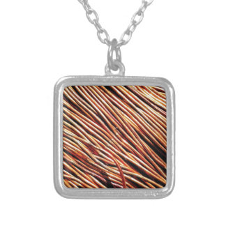coils of the electric motor silver plated necklace