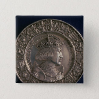 Coin bearing the portrait of Charles V 2 Inch Square Button