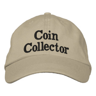 Coin Collector Hat Tan color Adjustable Size. Embroidered Hats