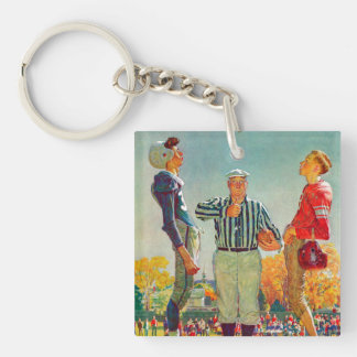Coin Toss by Norman Rockwell Keychain