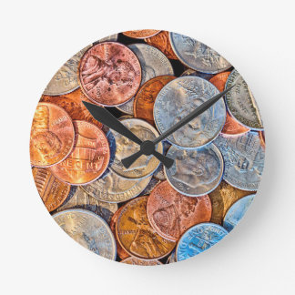 Coined Currency Round Clock