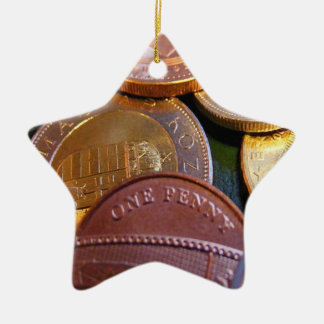 Coins for luck ceramic star ornament