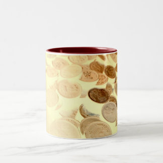 coins Two-Tone coffee mug