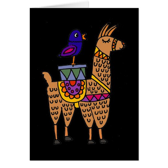 Col Llama with Colourful Blanket and Packages Card
