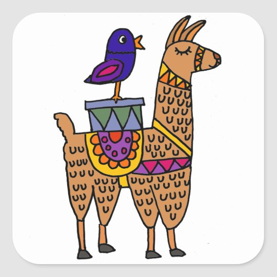 Col Llama with Colourful Blanket and Packages Square Sticker